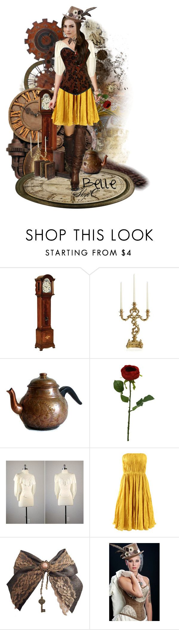 """Steampunk Belle Inspired Doll - Emma Stone"" by rubytyra ❤ liked on Polyvore featuring Buccellati, Oscar de la Renta, victorian, steampunk, beauty and the beast, top hat, skirt, boots, shirt and bow tie"