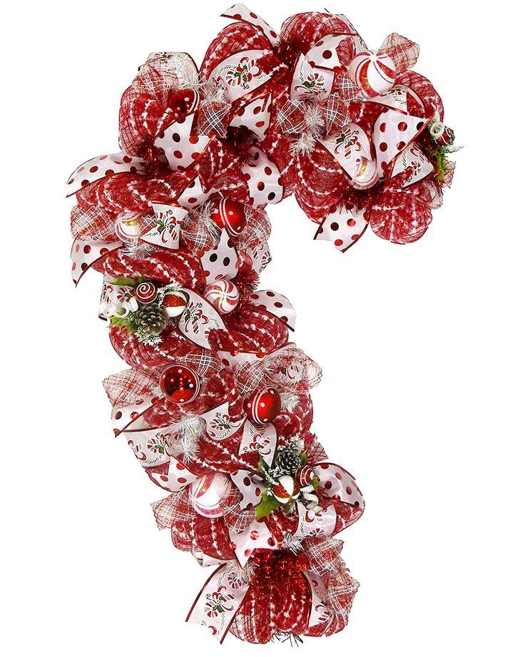 Giant Candy Cane Christmas Front Door Wreath
