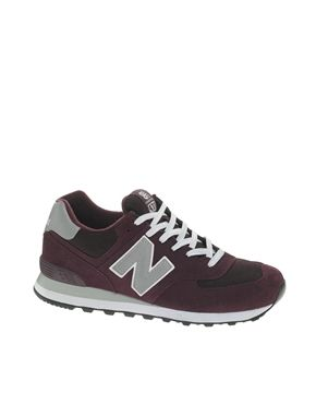 New Balance 574 Suede And Mesh Burgundy Trainers