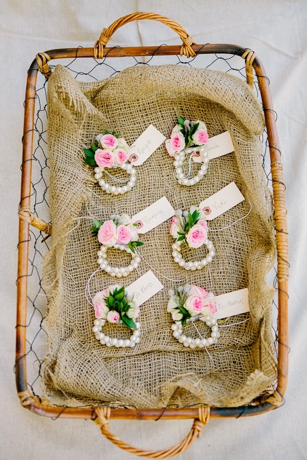 Darling wrist corsages, I like the country basket presentation.