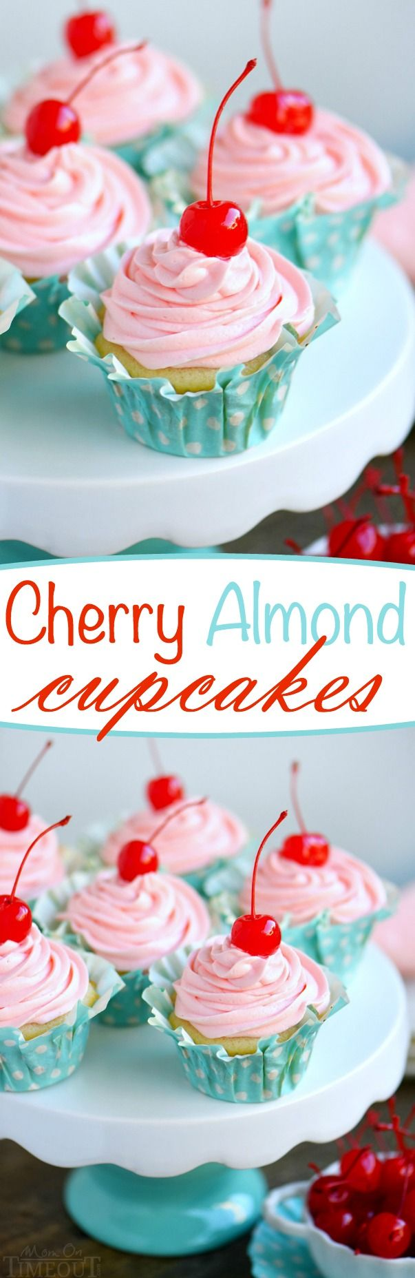 These Cherry Almond Cupcakes are so bright and festive - they're hard to resist! A beautiful almond cupcake, made from scratch, is topped with a cherry almond frosting that is just delightful! Topped with a cherry, these cupcakes are party-ready! // Mom On Timeout: