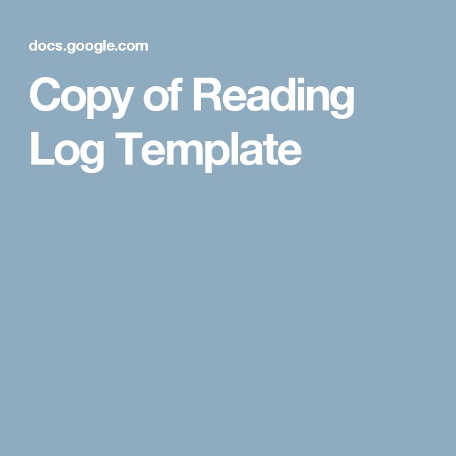 Copy of Reading Log Template Google Classroom Pinterest - reading log template