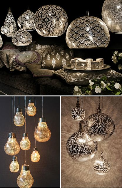 These pendants are all handmade in Egypt. Traditional techniques and craftsmanship are combined with a modern design. The hand hammered brass lamps are silver plated and then drilled with delicate patterns. The little holes give the most gorgeous light effect on walls and ceiling.