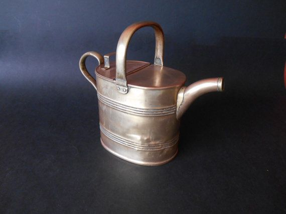 Antique Brass Watering Can - Victorian Hot Water Can British Made JS & SB No. 5 - Bilston, UK - Victorian Garden Tool Accessory 1900s.