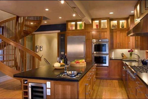 küchendesigns Eichenholz Kücheninsel mit Regalen und Schubladen