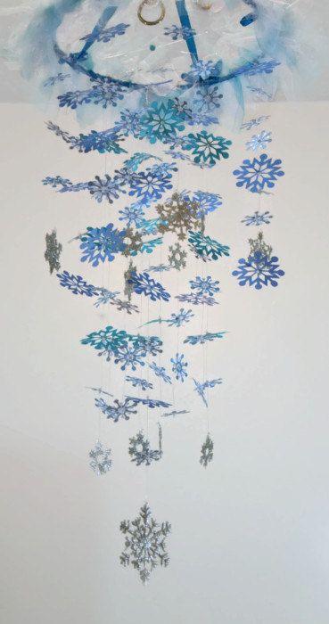 Schneeflocke Mobile blau Türkis Silber grau von Sastara auf Etsy