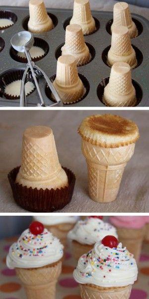 Supergaaf! Een cupcake met een ijshoorntje eronder en natuurlijk de botercreme met spikkels en de kers op de cupcake