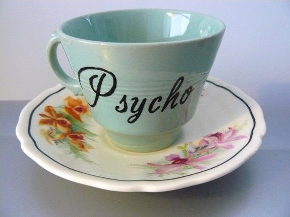 altered vintage teacup $25. Never thought of doing this to my johnson brothers…