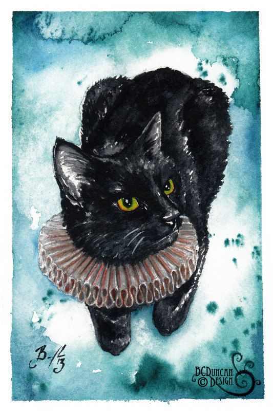 An Elegant Ruff: Fine Art Giclee Watercolour Black Cat Print --by BCDuncanDesign