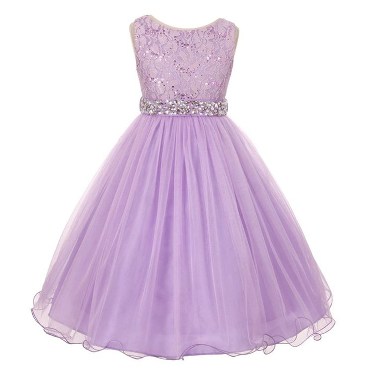 A glamorous elegant fashion piece from My Best Kids just for your girl. The lilac sleeveless dress features a top designed with stretch lace and decked with sparkle sequins. It has a detachable belt made with rhinestones leading to a crystal tulle stylish