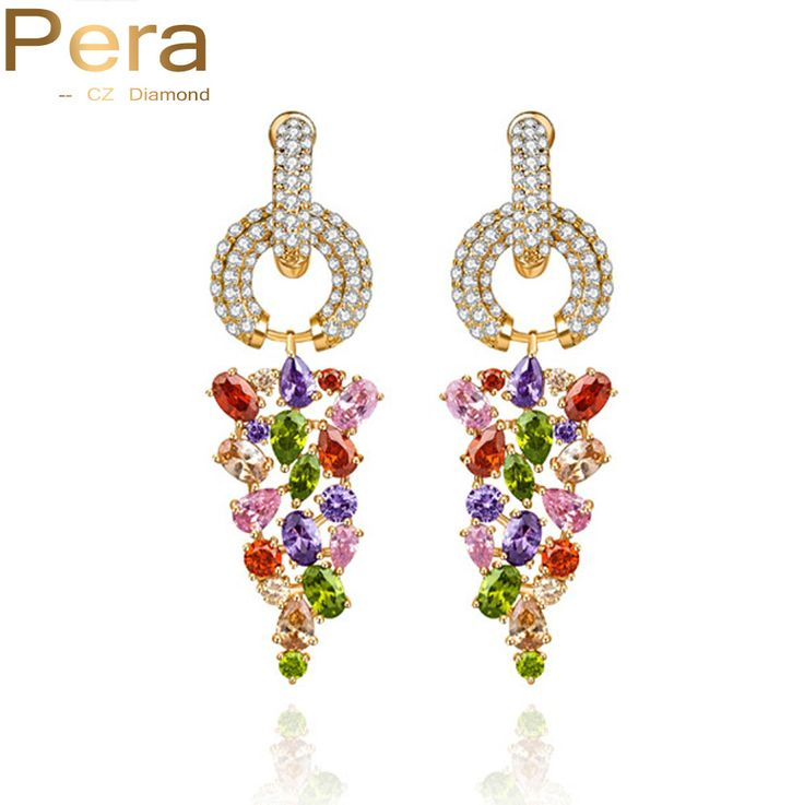 Sparkling Gold Plated Multi Color Cubic Zirconia Simulated Diamond Long Grape Shape Wedding Big Dangling Earrings For Women E070