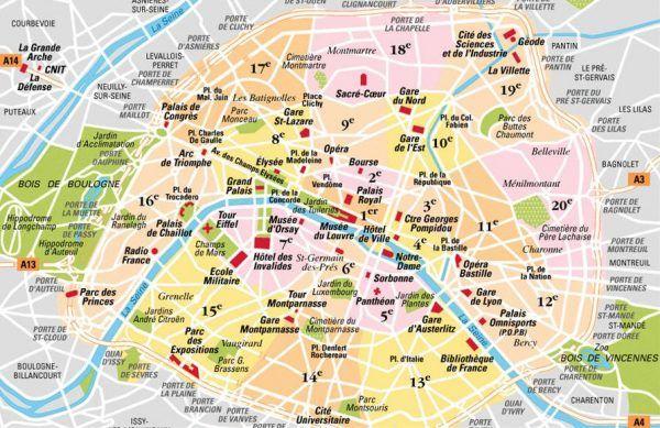 Cartina Parigi Con Monumenti Principali.Mappa Semplice Di Parigi Divisa Per Arrondissements Con Monumenti Principali Parigi Mappa Viaggiare A Parigi Parigi Francia