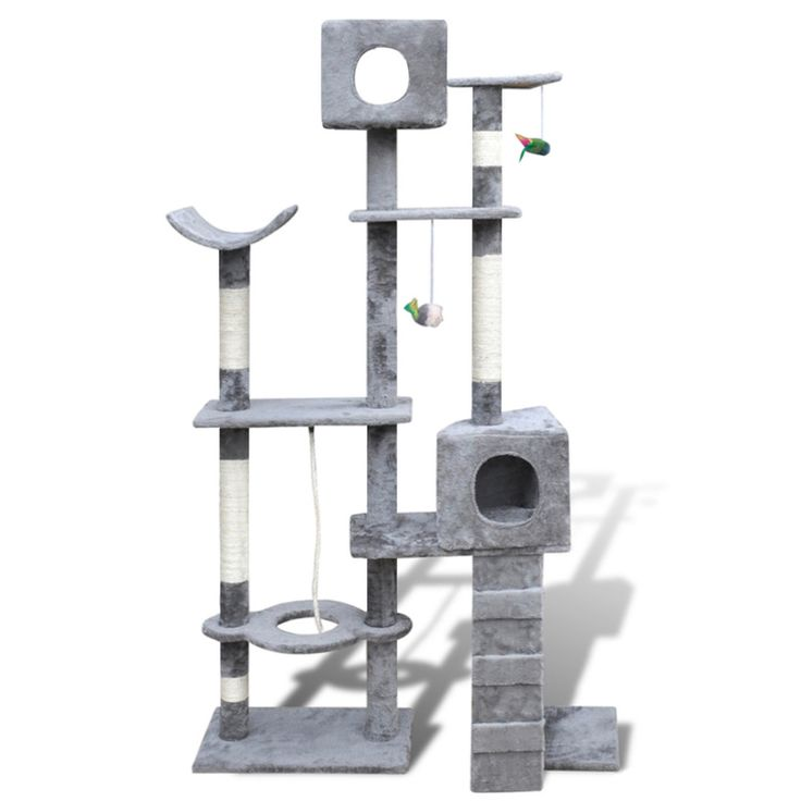 Cat Tree Scratching Post Grey Kitten Pet Scratcher Bed Activity Tower Kitty