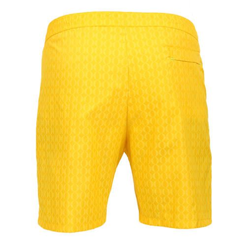 LIDO 2 LONG BOARDSHORTS COLOR YELLOWMade in Italy yellow Jacquard nylon LIDO 2 long boardshorts. Two front pockets and a small press stud pocket featuring an hexagonal metal decoration. Back pocket. Internal net. Elastic waistband with adjustable drawstring. COMPOSITION: 100% POLYAMIDE. Model wears size L he is 189 cm tall and weighs 86 Kg.