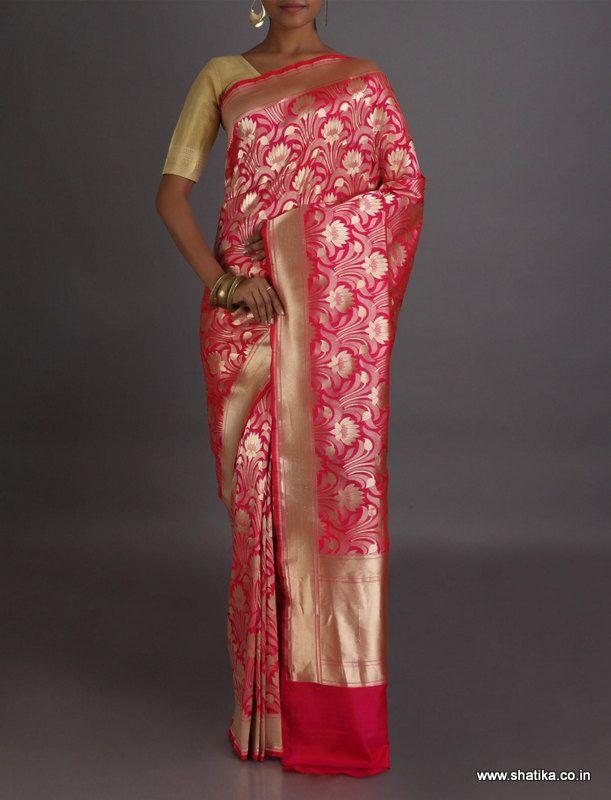 Naira A Bloom Of Golden Lotus Real Zari Brocade #BanarasiSilkSaree