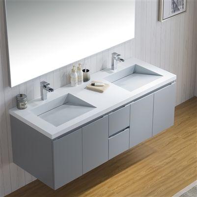 vanity adams 60 with infinity sink | floating bathroom