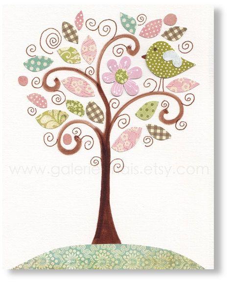 Arte de pared de niños - niñas room decoración - arte de la pared de vivero - vivero de aves - árbol rosa y verde - Magnifique de París por ...