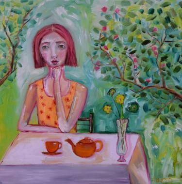 Lady having Tea in the Garden by Tree