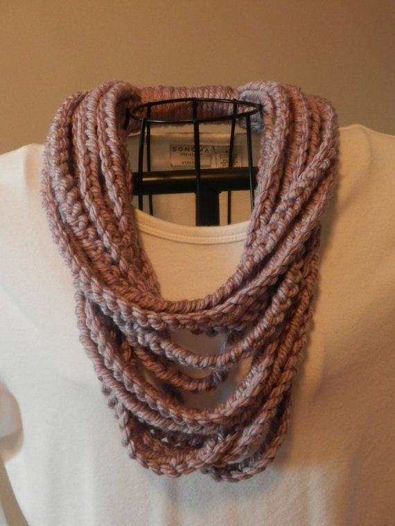 Crochet Chain Stitch : Crocheted Chain Stitch Scarf/ One Loop Scarf/ Lavendar Chain Infinity ...