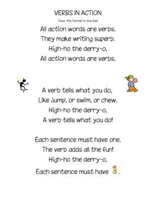 verbs in action song - Google Search- sing to farmer and the dell