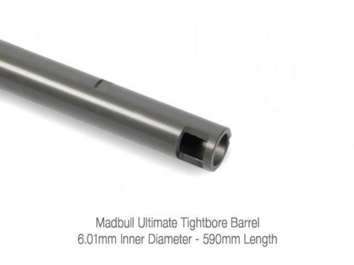 Mad Bull Airsoft 6.01mm Ultimate Tightbore Barrel 650mm by Mad Bull. $47.95. Madbull Airsoft 650mm Ultimate Tight Bore Barrel By using a hard coating process, their barrels can provide the smoothest inner barrel surface and a reinforced structure possible. The choice of BB's is very important, use high grade BB's to ensure a longer lasting product. The barrels are 6.01mm in diameter. Features  * Hard anodized coating * Titanium color finish * Ultimate tensile strength & h...