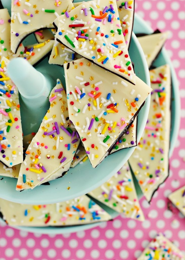Cake Batter and Sprinkle Bark- put in party favor bags?