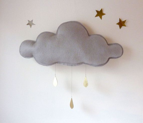This is so cute  Big Grey Rain cloud with Gold raindrops by The Butter Flying.