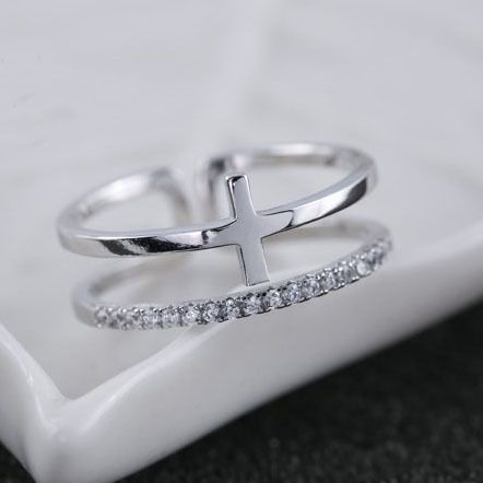 925 Sterling Silver Rings For Women Cubic Zirconia Cross Double Open Ring Hypoallergenic Sterling Silver Jewelry