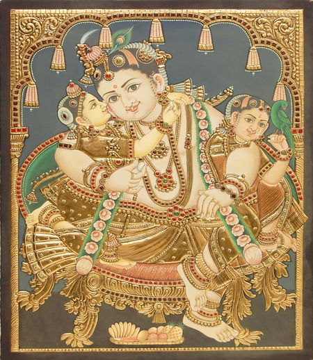 One more lovely Antique style Krishna painting