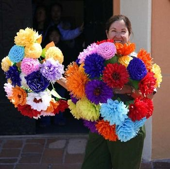 I love Mexican folks art, these paper flowers are super easy and can be adjusted for whateveryou're decorating.