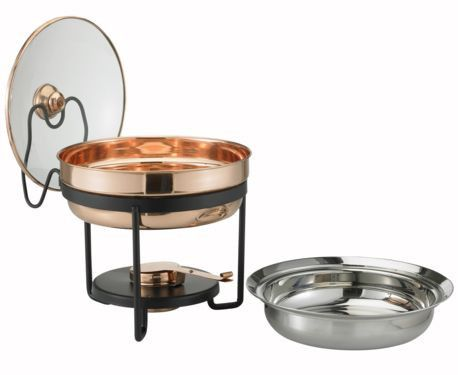 11 x 11 x 11.25 Decor Copper Chafing Dish w/Glass Lid 2.5 Qt - A contemporary shape plus a classic copper finish equal a chafing dish that will elevate your entertaining to a higher altitude. The 2½ Qt. stainless steel food pan is held over a temperature-moderating water pan and adjustable gel-fuel holder to keep everything at the desired temperature without drying out. See-thru tempered glass lid nestles securely in its own holder for easy, one-handed serving. Oven- and dishwasher safe…