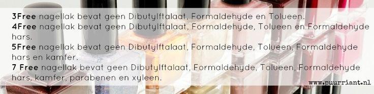 Deze schadelijke stoffen zijn vervangen in je nagellak als er 3Free, 4Free, 5Free of 7Free op het flesje staat.