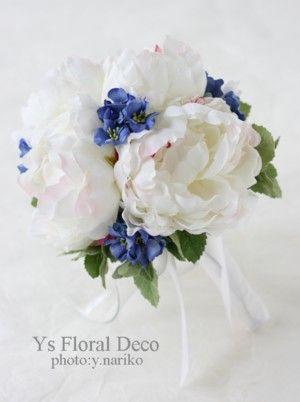 白と青のラウンドブーケ アーティフィシャルフラワー @ノリタケの森 ys floral deco