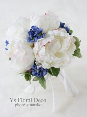白と青のブーケ @ノリタケの森 ys floral deco