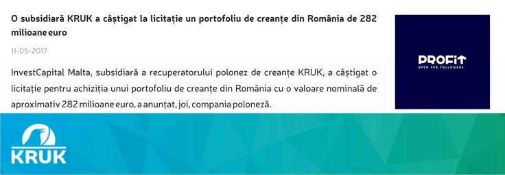 O companie din Grupul KRUK a castigat o noua licitatie: https://www.profit.ro/povesti-cu-profit/financiar/o-subsidiara-kruk-a-castigat-la-licitatie-un-portofoliu-de-creante-din-romania-de-282-milioane-euro-16970855