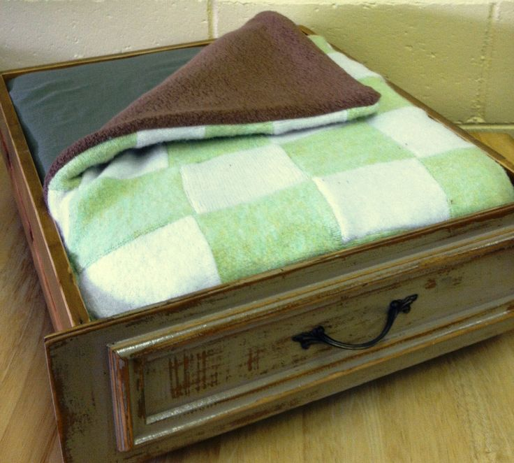 Green Pet Bed Upcycled from a Vintage Drawer and Sweaters - OOAK. $54.00,  via