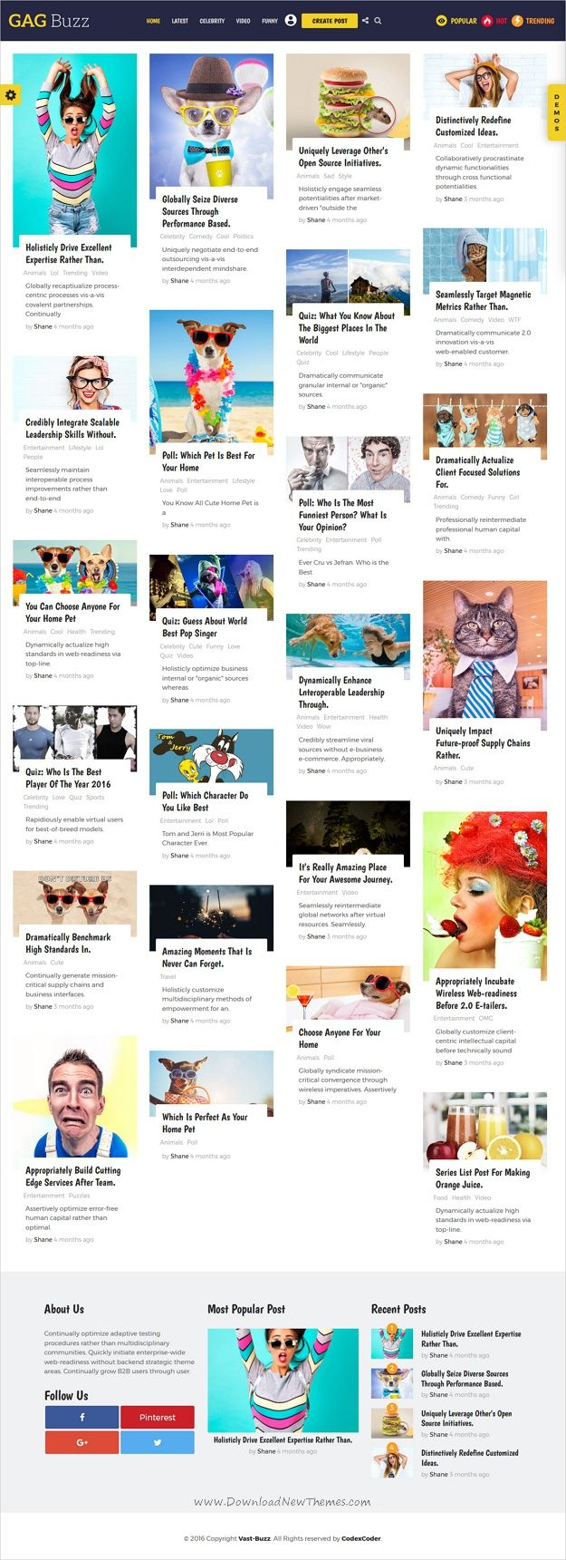 Vast buzz is unique, modern and flat design #WordPress theme for viral news and magazine websites with 9 homepage layouts to create #gag list, #meme, quiz, pool, video, audio, gallery news easily download now➩  https://themeforest.net/item/vast-buzz-viral-buzz-wordpress-theme/19287621?ref=Datasata
