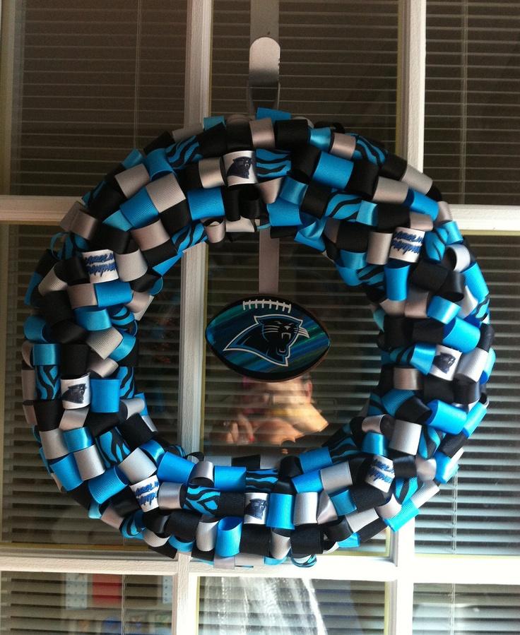 Carolina Panther Wreath. $25.00, Via Etsy.