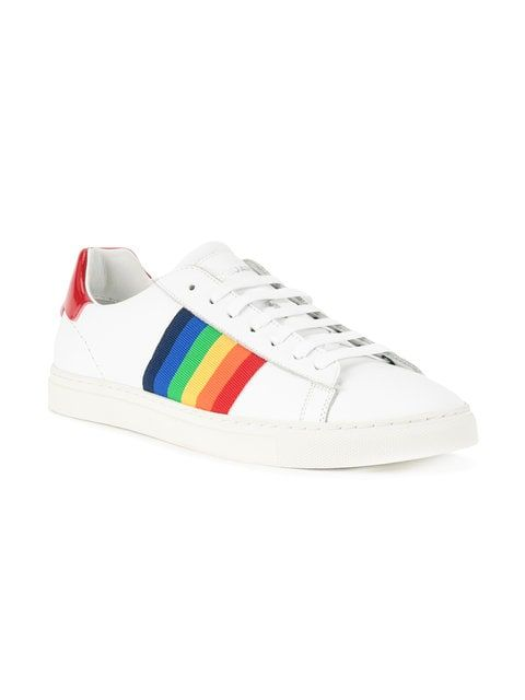 69bc9f39c58f7 Dsquared2 rainbow stripe low-top sneakers | Shoes in 2019 | Striped ...