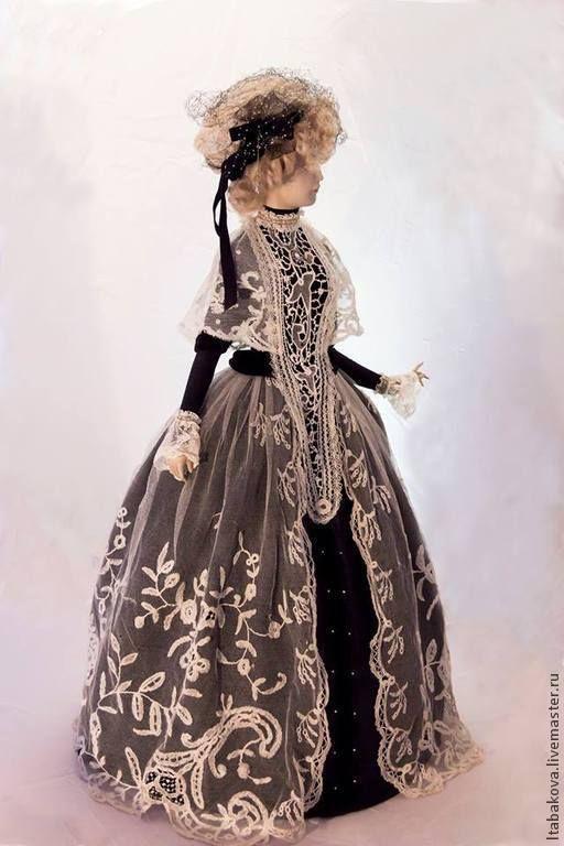 Купить Вера - чёрно-белый, коллекционная кукла, антикварная кукла, подарок, антикварные кружева, кружева