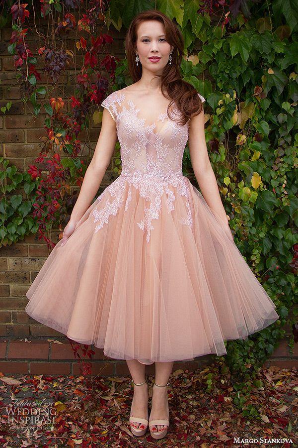 Peach Lace Tea Length Dress