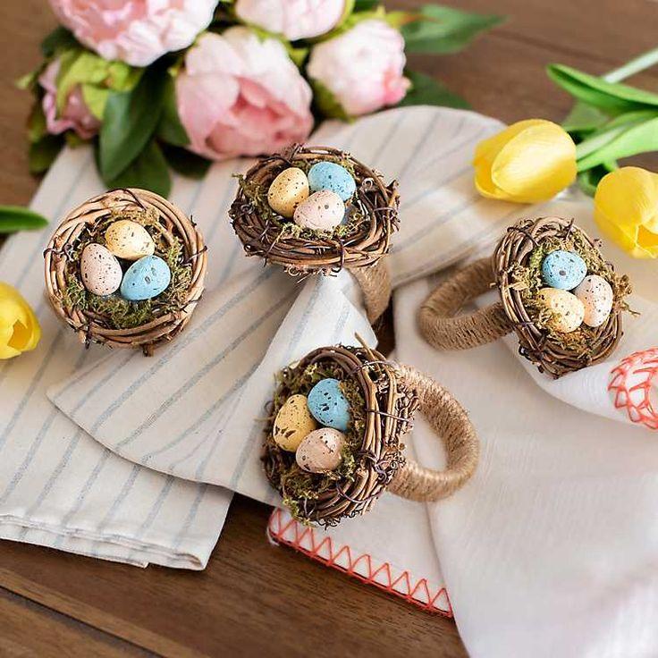 Easter Egg Nest Napkin Rings, Set of 4 in 2020