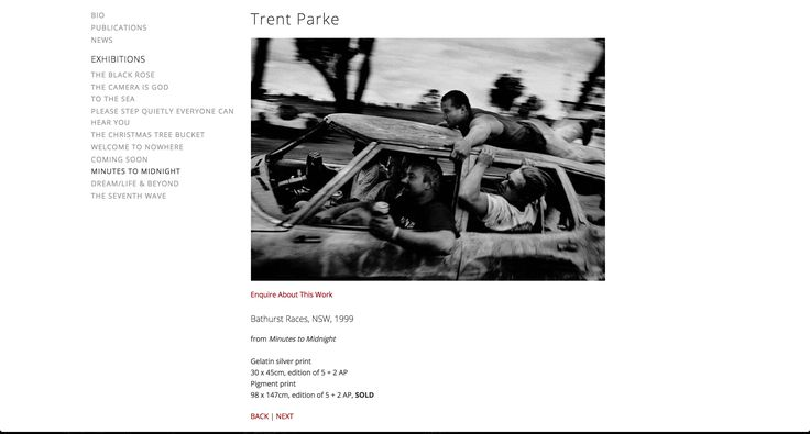 Titled 'Bathurst Races' this photo is from Trent Parke's 'Minutes to Midnight' series. The strong use of panning with the subject gives the photo a very active feel and a great sence of speed. The facial reactions of the in the photo show just how fast and intense the situation is