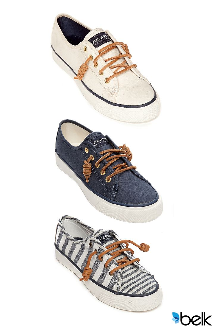 Start your next warm-weather adventure in the classic, lightweight comfort of Sperry®! The Seacoast style with extended lace-to-toe details lends a splash of nautical of whimsy to any outfit. The removable footbed lets you adjust for comfort and fit, and the timeless canvas and leather combo goes everywhere you want to be this summer. Try them with rolled jeans, or a skirt for a flirty, adventurous look. Get your Sperry® Seacoast now at Belk.com.