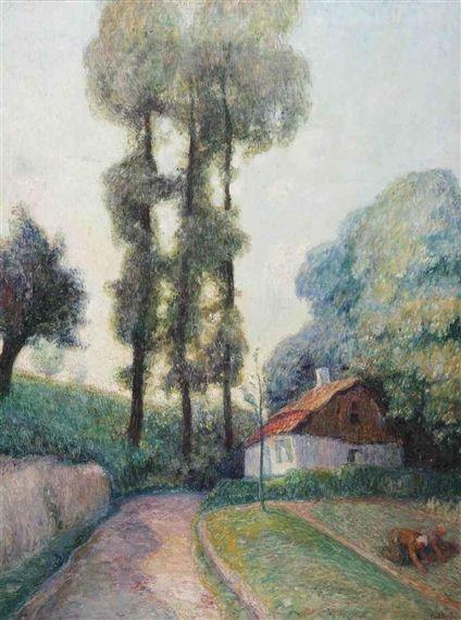 Frits van den Berghe - In the garden; Medium: oil on canvas