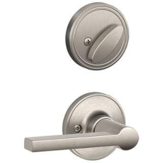 Schlage Solstice Single Cylinder Interior Pack From The J Series (Forme Satin  Nickel Handleset Interior Pack Single Cylinder