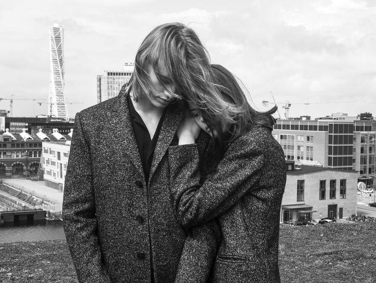 Gage and Harper coat in Almost Black. ROCKANDBLUE Sweden AW17  Photographer: Ricardo Gomes  Model: Elyssa Norin  Model: Måns Åberg