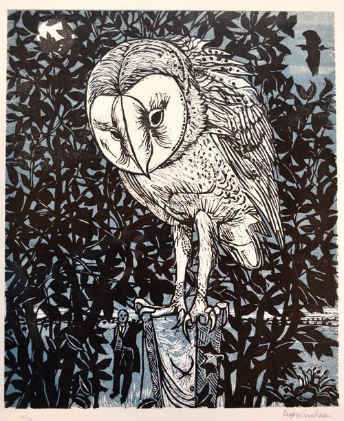 'FRED, CLARE & THE HERON' by Rigby Graham (woodcut)