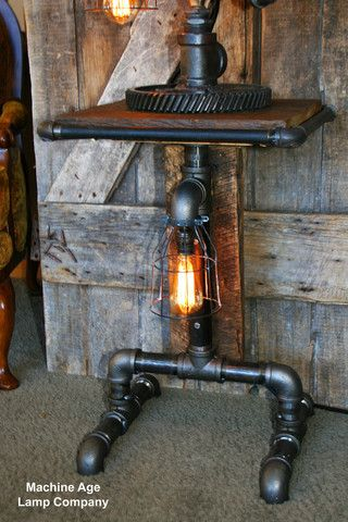 Floor Lamps Barn Wood Tables And Steampunk Lamp On Pinterest