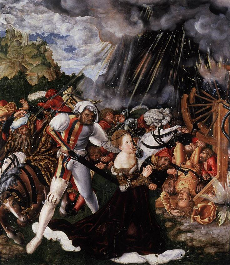 LUCAS CRANACH (1472 - 1553) | The Martyrdom of St Catherine - 1504/05. Collection of the Reformed Church, Budapest.